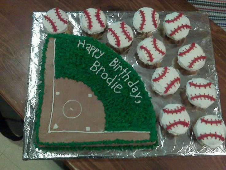 baseball field - this as a last minute birthday cake, i found the lifesaving idea on this site from BellaSweet (thank you!) the field was cut from a 11x14 pan, and decorated in all buttercream, and the baseballs are obviously cupcakes (decorated in turbospeed!) thanks for looking