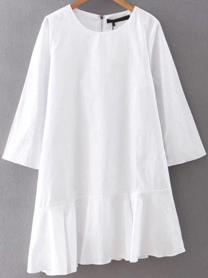 White Zipper Back Ruffle Asymmetrical Hem Dress