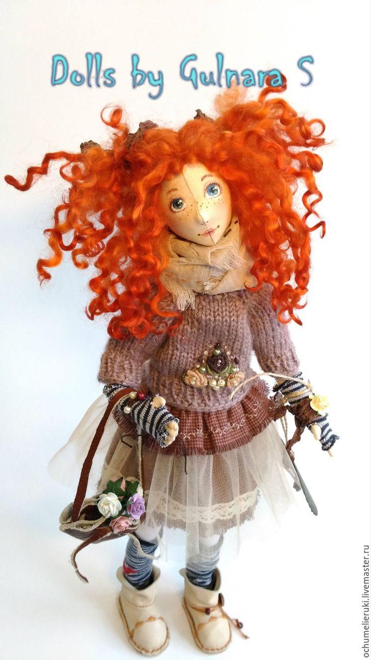 Купить РЕЗЕРВТекстильная каркасная кукла. Авторская работа - бежевый, коричневый, кофейный, тильда, авторсая работа