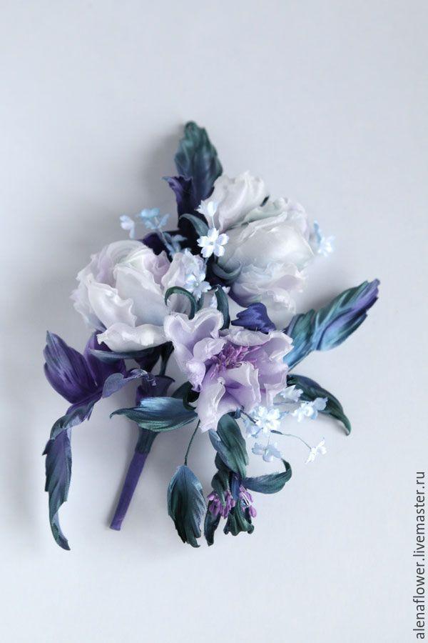 """Купить Брошь """"Жемчужное сияние"""" - тёмно-фиолетовый, фиолетовый, цветы из ткани, цветы из шелка"""
