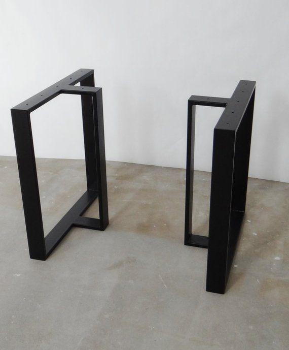 Metal Dining Table Legs T Shape Steel Table Legs Set 2 Iron