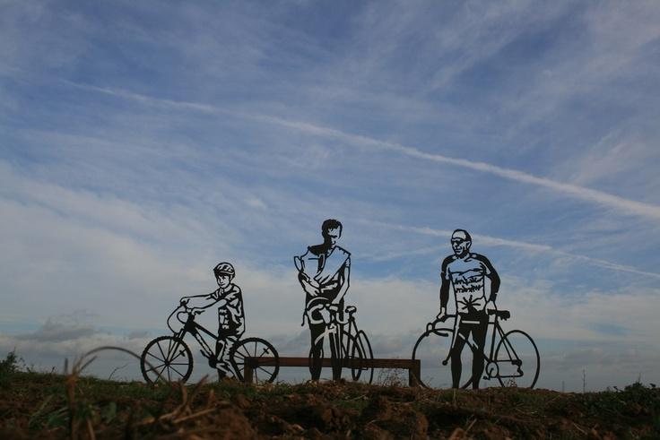 Sustrans Portrait Bench in Sleaford.  Oliver Harding, Nev Crane and Mark Gould