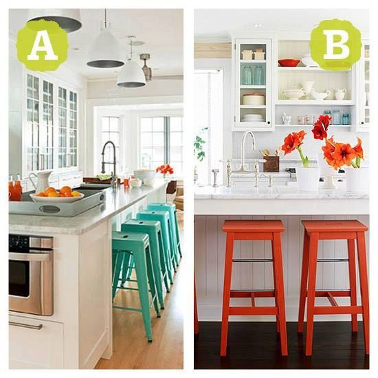 Pop of Color: Which kitchen wears it better? A or B