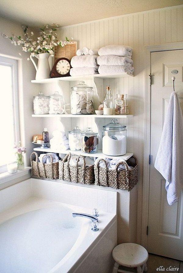 Shabby Chic Bathroom Open Storage || @pattonmelo