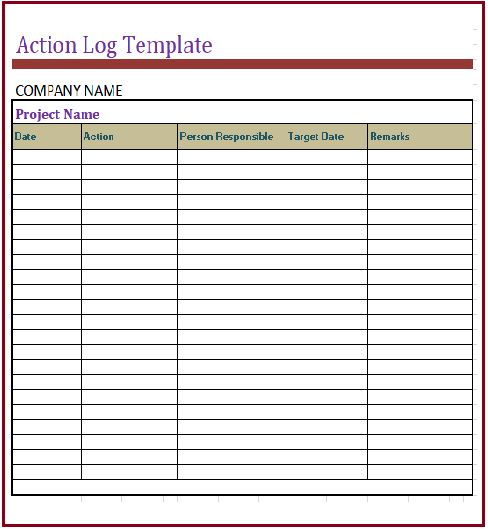 Action Log Template Gas Forms Action Log Template Meetings Tasks
