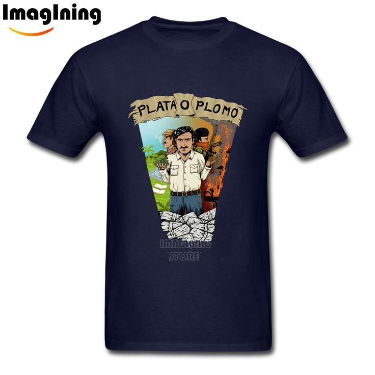 For Boyfriend Best Plata o Plomo Narcos Pablo Escobar tshirt  White Short Sleeve Plus Size Cool Men's Tee Shirts #Affiliate