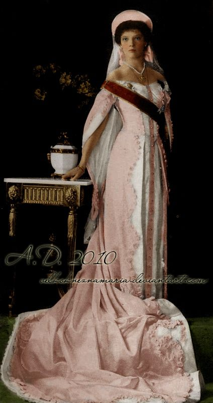 Grand Duchess Tatiana Nikolaevna Romanova of Russia (1897-1918) in court dress…