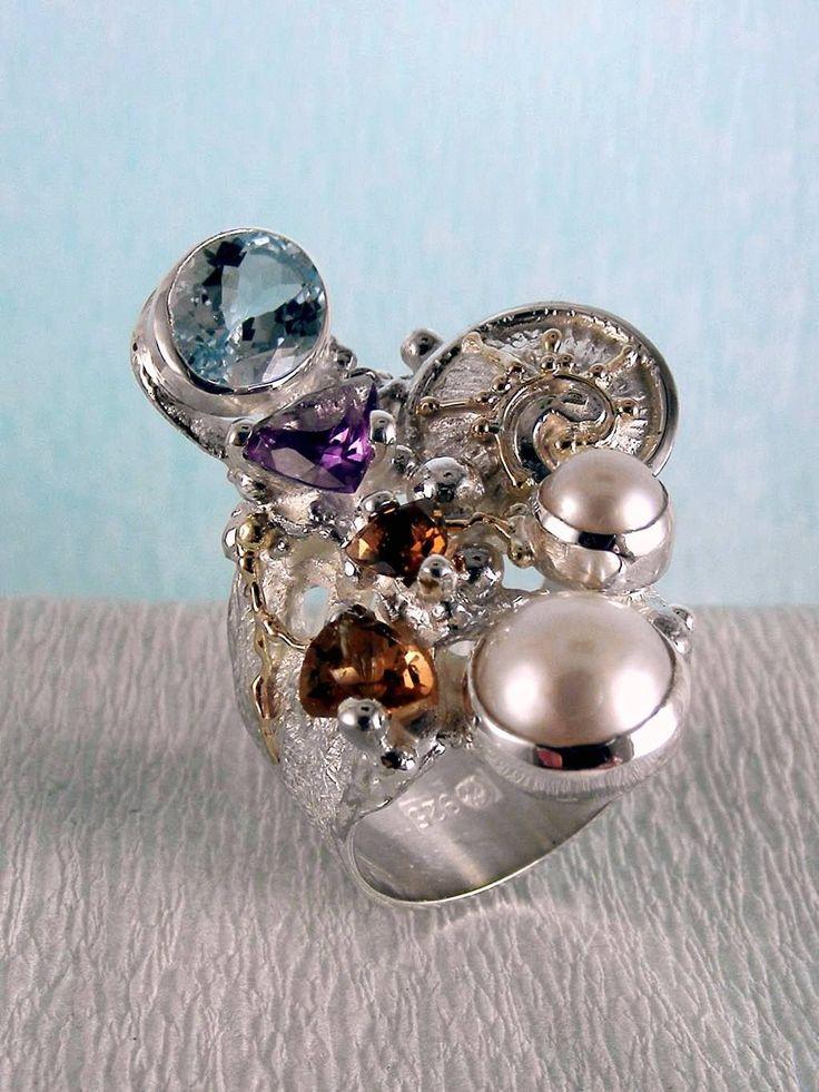 Gregory Pyra Piro #Konst #Smycken Sterlingsilver och Guld med Ädelstenar #Ring 2050