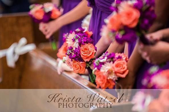Wedding Reception Purple Coral Orange Plum Centerpieces
