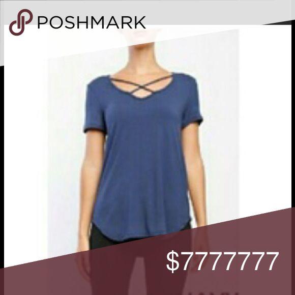 Coming.. Strappy Denim Blue v-neck tee Strappy Denim blue v-neck tee.  92% rayon, 8% spandex. Firm price unless bundled. Fashionomics Tops Tees - Short Sleeve