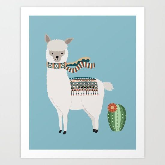 Alpaca & Cactus illustration.