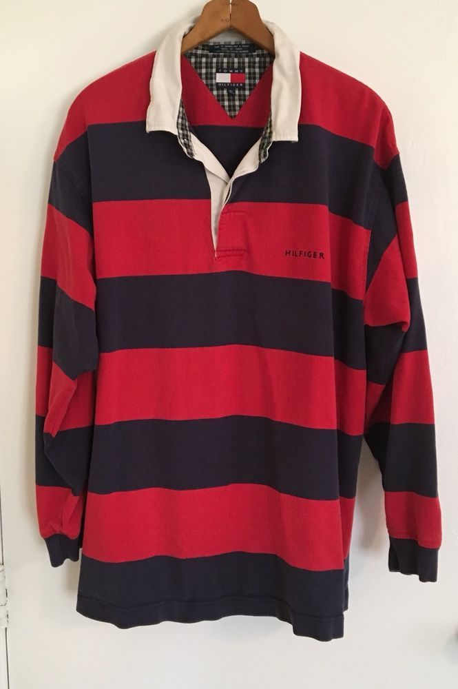 faf11ce817e VINTAGE TOMMY HILFIGER Men's Blue Red Striped Rugby Shirt Size XL Spell Out  | eBay