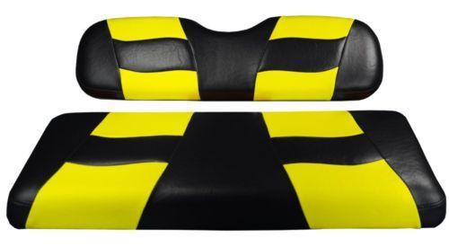 Ezgo Txt Golf Cart Black Yellow Riptide Custom Front Seat