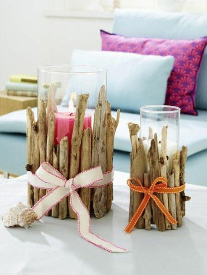Kerzenhalter basteln mit Treibholz Stücke mit verschiedener Größen