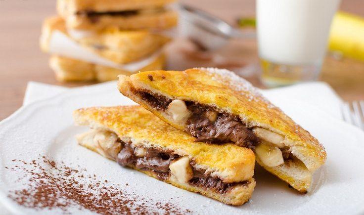 Γαλλικό τοστ με μερέντα και μπανάνα