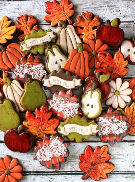 Love these Autumn Sugar Cookies decorated by LilaLoa! Ideal for Thanksgiving or fall/autumn themed parties such as a wedding, bridal shower or baby shower.
