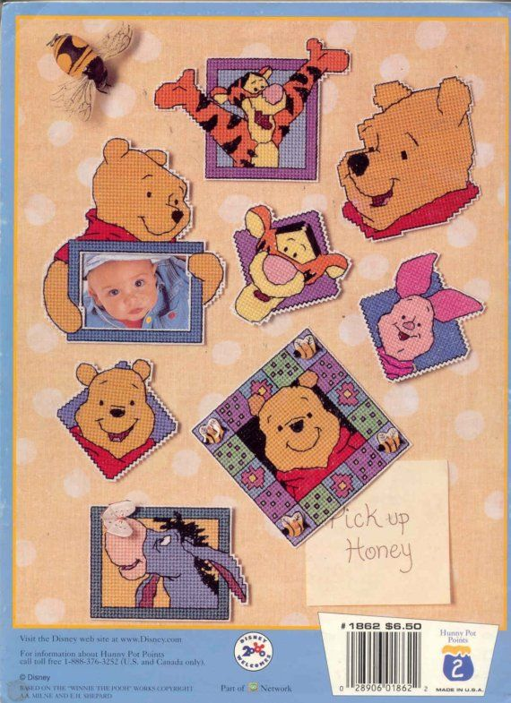 Pooh Magnets For You    plastic canvas book by puddinpop on Etsy (Craft Supplies & Tools, Patterns & Tutorials, Sewing & Needlecraft, patterns, magnets, winnie the pooh)