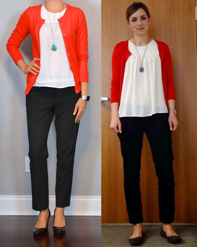 outfit post: red cardigan, white blouse, black cropped pants, teal necklace | Outfit Posts | Bloglovin'