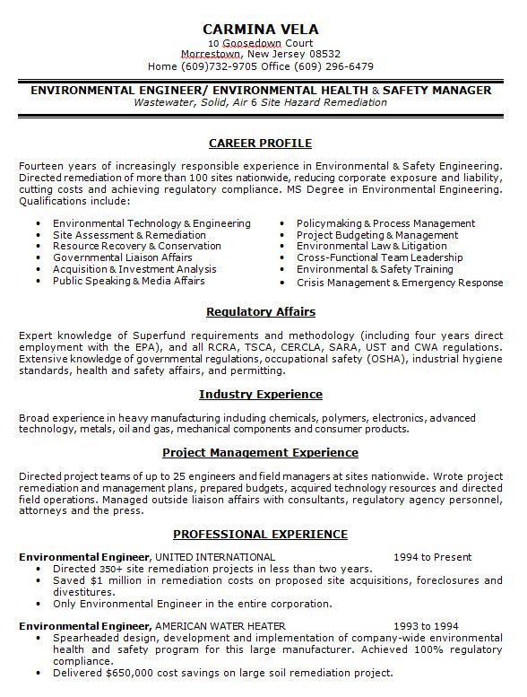 Environmental Health Safety Engineer Sample Resume Download