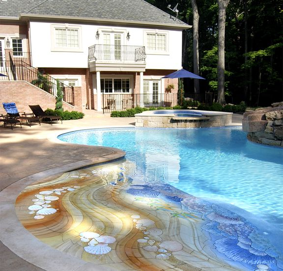 25 best ideas about zero entry pool on pinterest beach for Walk in pool designs