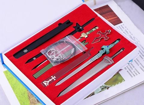 Sword Art Online - Weapons Pendants Set    https://the-gift-shack.com/collections/by-interest/products/anime-sword-art-online-sao-cosplay-swords-kirito-elucidator-asuna-swords-weapons-pendants-set-box