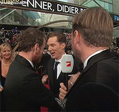 """I gotta photobomb this guy""   (Photobombing specialist Benedict C.)  Benedict Cumberbatch and Michael Fassbender - Oscars 2014"