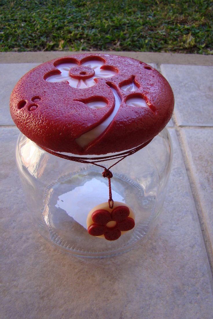 Frasco decorado con porcelana fria frascos decorados en - Frascos de vidrio decorados ...