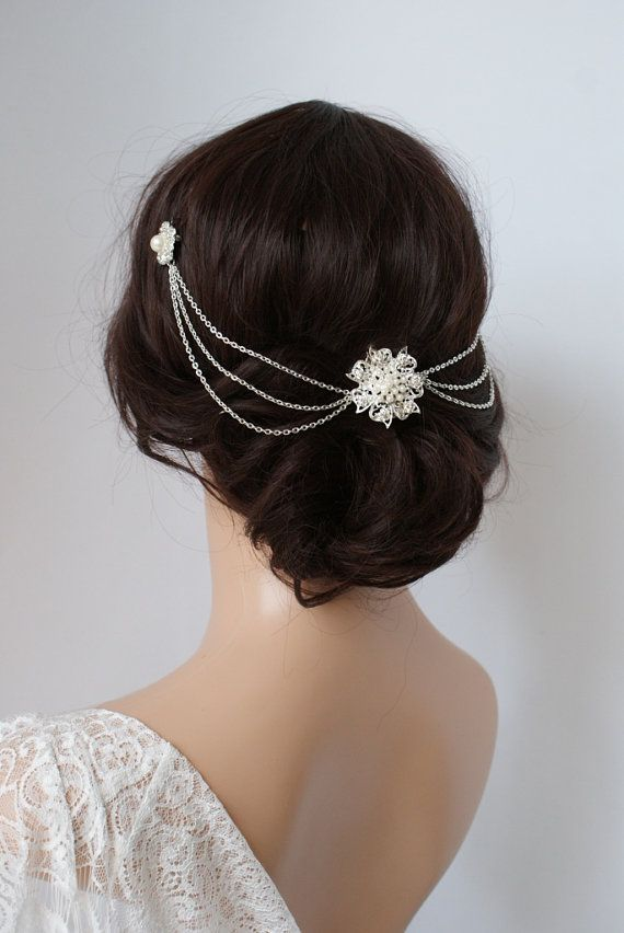Wedding Headpiece with pearls Silver Headchain by RoseRedRoseWhite