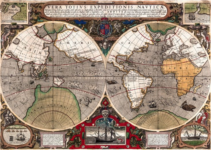 20 best antique maps vintage maps art prints images on pinterest antique world map old vintage map 1595 fade resistant hd art print or gumiabroncs Gallery