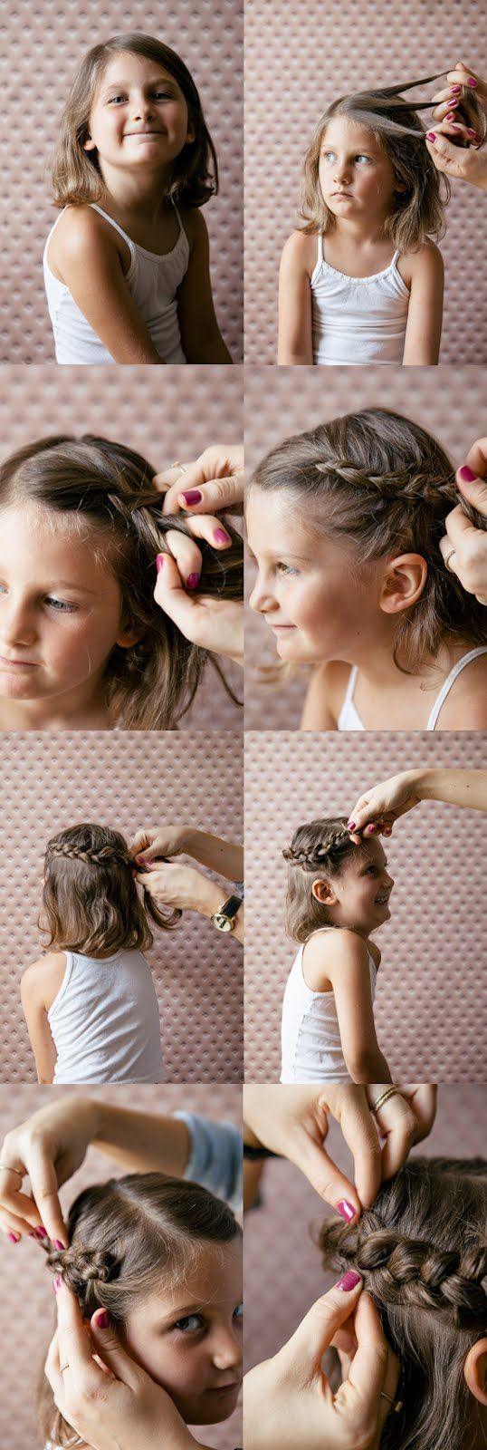 This princess crown braid will keep your little girl's hair out of her face while learning and playing! | via A Cup of Jo