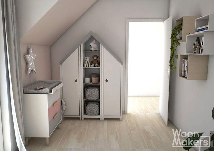 Kast huis, lamp ster en een licht roze muur. Frisse, Scandinavische babykamer voor een meisje. Little pink star by Woonmakers