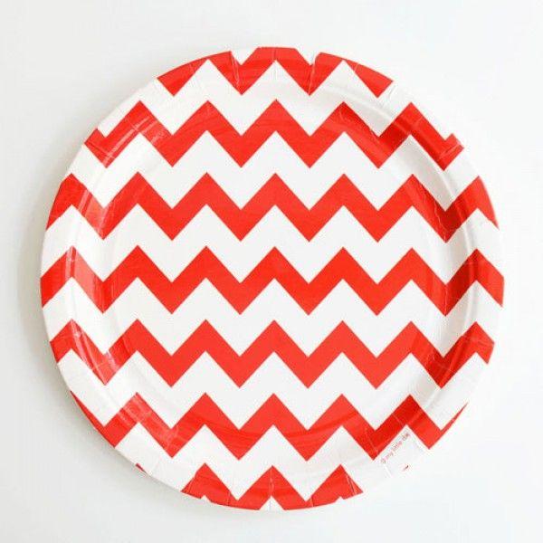 Platos chevron rojo / 8 uds de venta en: http://shop.fiestascoquetas.com