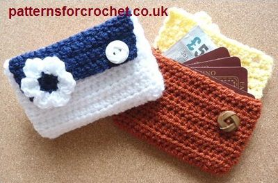 Free crochet pattern for card pouch - purse from http://patternsforcrochet.co.uk/card-pouch-usa.html #patternsforcrochet