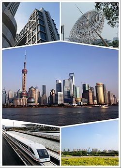 Pudong District of Shanghai -- Architectural mix of east and west