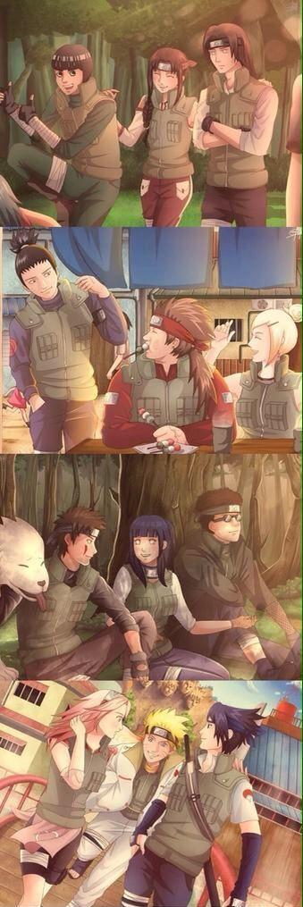 NARUTO SHIPPUDEN, Team 9 Lee, Tenten, Neji; Team 10 Shikamaru, Choji, Ino; Team 8 Kiba with Akamaru, Hinata, Shino; Team 7 Sakura, Naruto, Sasuke