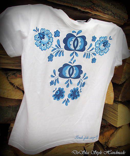 DoSka_Style_Handmade / Modranská maľovaná na tričku 2