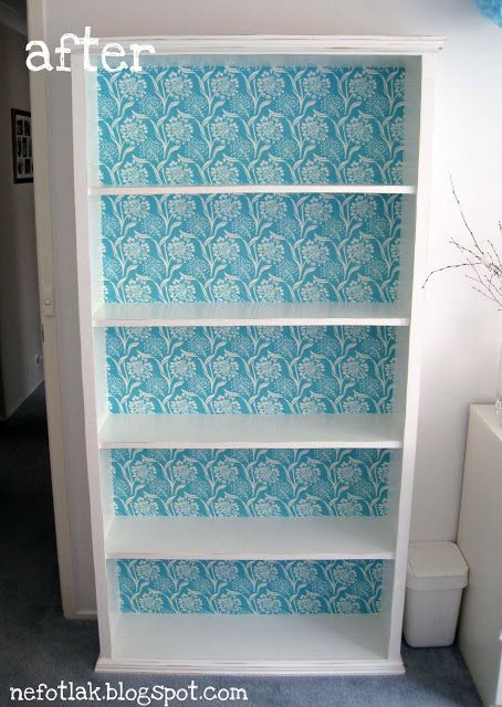 I want to do this to my boring white ikea bookshelf! (With a different fabric... but same idea).