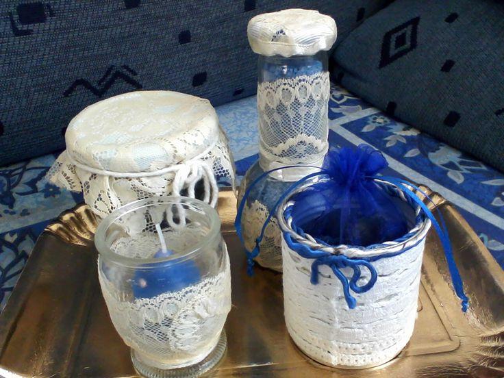 barattoli di vetro porta pot.pourri, porta candele, porta sali da bagno e porta sacchettino decorati a mano con centrini e pizzi