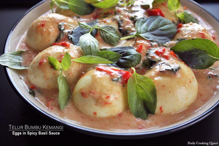 Telur Bumbu Kemangi - Eggs with Spicy Basil Sauce