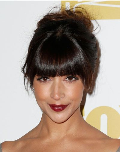Hannah Simone's Girly Messy Curly French Twist with Blunt Bangs