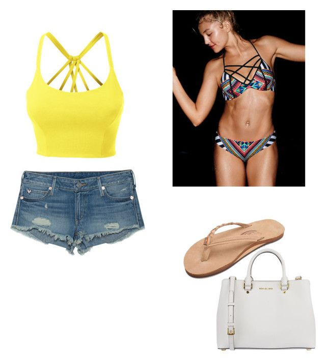 """Day at beach"" by natalieeee214 ❤ liked on Polyvore featuring True Religion, MICHAEL Michael Kors and LE3NO"