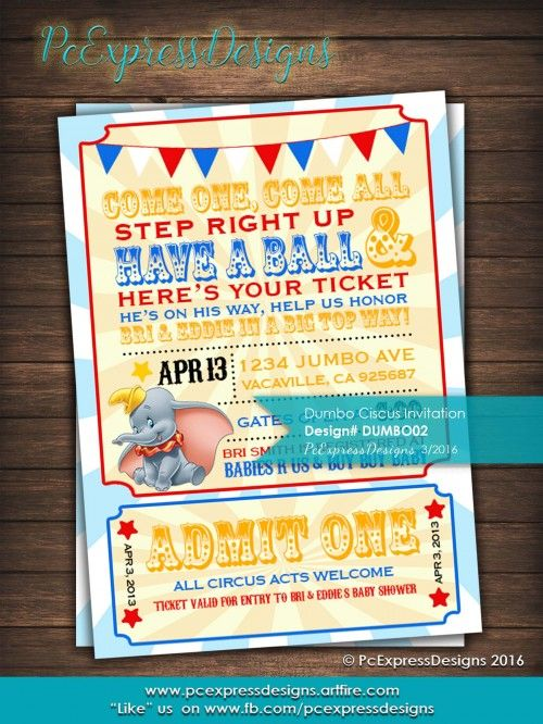 Dumbo Circus Baby Shower?Birthday invitation is customized to either 4x6 or 5x7 High Resolution Digital File (Jpeg). Which you can print yourself or upload it to your favorite photo center (Costco, Wal-Mart, Walgreens, etc.) as ma