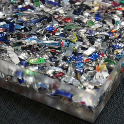 Recycled Shredded Aluminum Cans suspended in Acrylic Resin - countertops, tiles, etc.