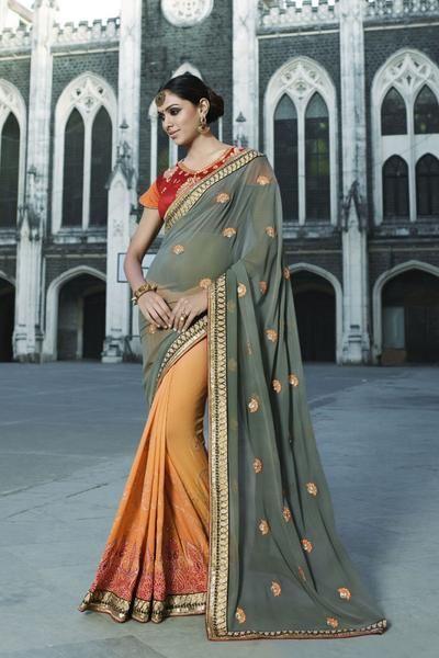 LadyIndia.com #Embroidered Sarees, Grey & Orange Designer Embroidered Half & Half Saree, Embroidered Sarees, https://ladyindia.com/collections/ethnic-wear/products/grey-orange-designer-embroidered-half-half-saree