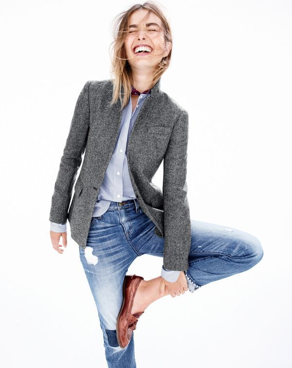 #JCrew women's Regent blazer, Thomas Mason® for J.Crew collarless tuxedo shirt in stripe, men's Italian silk pocket square in medallion print, Point Sur shoreditch straight selvedge jean in Vernon wash and Biella crackled leather loafers.