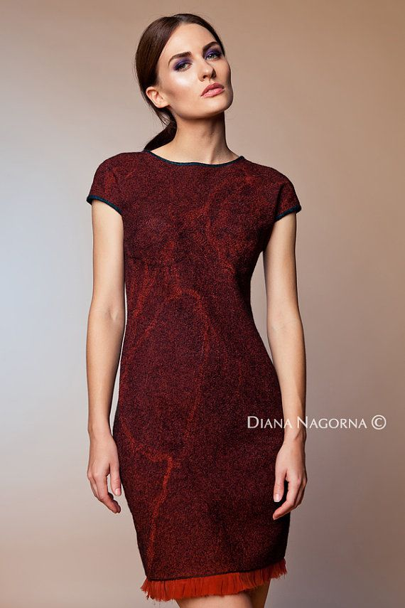 Marsala dress , Nuno-felt dress,Wool and Silk, Elegant dress ,Hand felting, warm and cozy dress, wool cloth