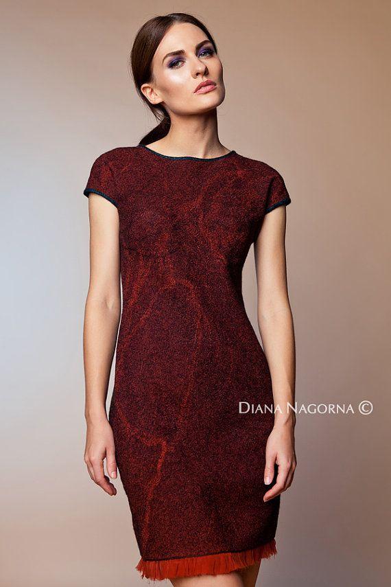 Marsala dress , Nuno-felt dress,Wool and Silk,  Elegant dress ,Hand felting, warm and cozy dress, wool cloth