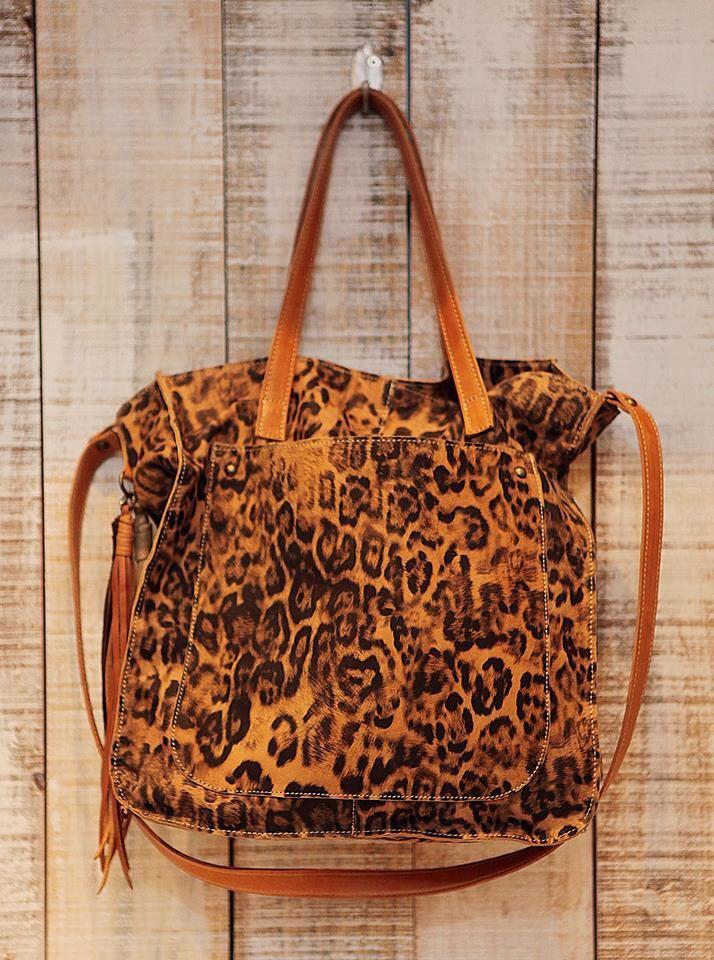 Leopard leather print tote bag | Leopard crossbody bag | Percibal | Etsy