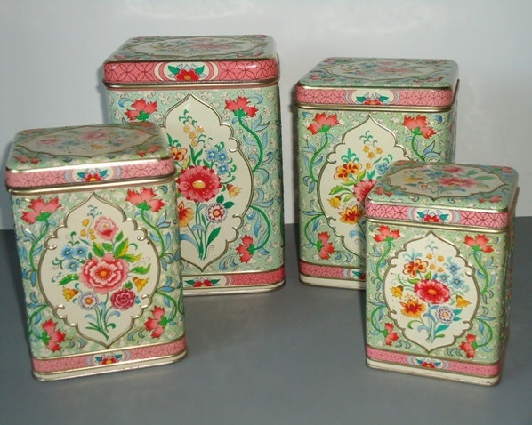 Great Floral Kitchen Canister Set   Holland Floral Canisters   Vintage Kitchen  Canister Set. $88.00,
