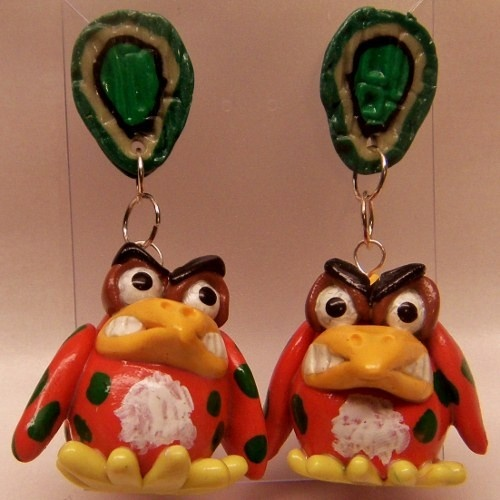 Polymer Clay Glow in the Dark Orange and Green Spotted Bird earrings from CreativeCritters